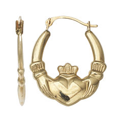 10K Yellow Gold Claddagh Hoop Earrings