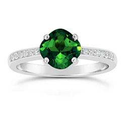 Womens Green Emerald Sterling Silver Halo Ring