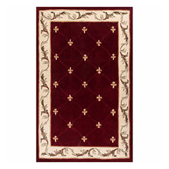Fleur de Lis Hand-Carved Wool Rectangular Rug