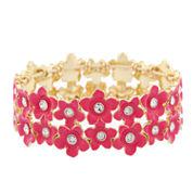 Liz Claiborne Womens Stretch Bracelet Pink Goldtone