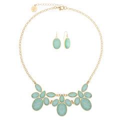 Liz Claiborne Green And Goldtone Flower Necklace Set