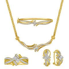 4-pc. 1/5 CT. T.W. White Diamond Brass Gold Over Brass Jewelry Set