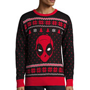 Novelty Season Crew Neck Long Sleeve Marvel Cotton Blend Pullover Sweater