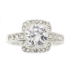 Sparkle Allure Womens White Cubic Zirconia Silver Over Brass Cocktail Ring