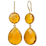 Orange Quartz Gold Over Silver Drop Earrings