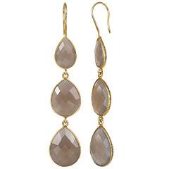 Gray Quartz 14K Gold Over Silver Drop Earrings