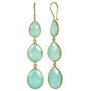 Green Quartz Gold Over Silver Drop Earrings