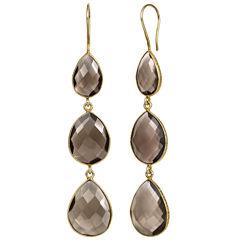Brown Quartz 14K Gold Over Silver Drop Earrings