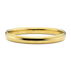 Gold Opulence 14K Gold Over Diamond Resin Polished Bangle