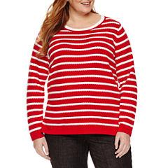 Liz Claiborne Long Sleeve Scoop Neck Pullover Sweater-Plus