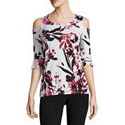 Worthington Elbow Sleeve Cold-Shoulder T-Shirt