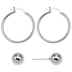 Sterling Silver 2-Pr. Earring Set