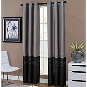 Horizon Two-Tone Embroidered Grommet-Top Curtain Panel
