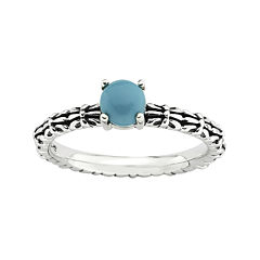 Personally Stackable Simulated Turquoise Ring