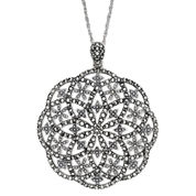 Marcasite Open Starburst Pendant Necklace