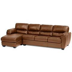 Leather Possibilities Pad-Arm 2pc. Right-Arm Sofa/Chaise Sectional