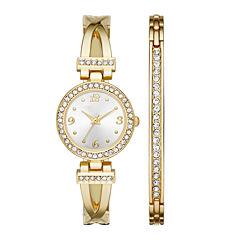 Womens Crystal T-Bar Glitz Watch and Bracelet Set