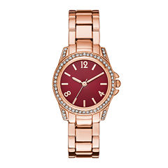 Womens Crystal-Accent Red Dial Rose-Tone Bracelet Watch