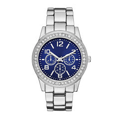 Womens Crystal-Accent Blue Dial Boyfriend Bracelet Watch