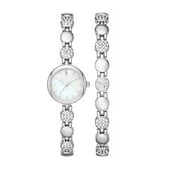 Womens Crystal Round Glitz Watch and Bracelet Set