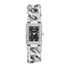 Geneva Womens Crystal-Accent Rectangular Silver-Tone Chain-Link Bracelet Watch