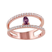 Genuine Purple Rhodolite and White Topaz Split Band Ring