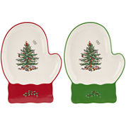 Spode® Christmas Tree Set of 2 Porcelain Mitten-Shaped Dishes