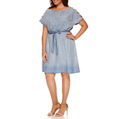 Luxology Short Cut Out Sleeve Embroidered Belted Sheath Dress-Plus