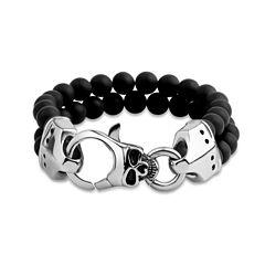 Mens Black Onyx Stainless Steel Beaded Bracelet