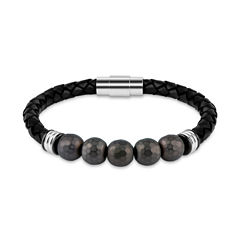 Mens Brown Hematite Stainless Steel Beaded Bracelet