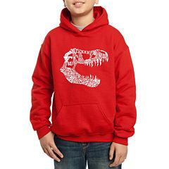 Los Angeles Pop Art Trex Skull Using Popular Dinosaur Names Hoodie-Big Kid Boys