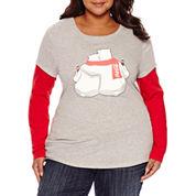 Long Sleeve Scoop Neck T-Shirt-Juniors Plus