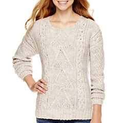 Arizona Long-Sleeve Chunky Pullover Sweater  - Juniors