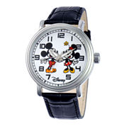 Disney Mens Mickey & Minnie Mouse Vintage-Style Watch