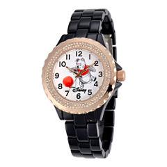 Disney Womens Winnie the Pooh Rose-Tone Black Enamel Watch