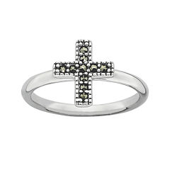 Personally Stackable Marcasite Sterling Silver Cross Ring