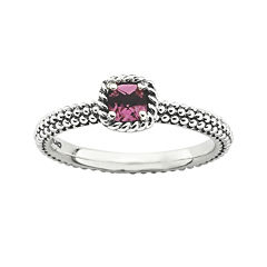 Personally Stackable Genuine Pink Tourmaline Antiqued Ring