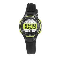 Armitron® Pro-Sport Womens Black Resin Strap Chronograph Sport Watch 45/7062LGN