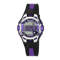 Armitron® Pro-Sport Womens Black/Purple Resin Strap Chronograph Sport Watch 45/7030PURJ