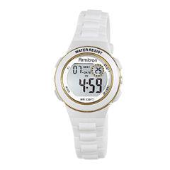 Armitron® Pro-Sport Womens White Resin Strap Chronograph Sport Watch 45/7046WHTJ