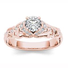 Womens 1/2 CT. T.W. Round White Diamond 14K Gold Engagement Ring