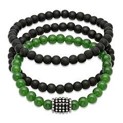 Mens Black Lava and Simulated Jade Beaded Stainless Steel Bracelet Set of 3