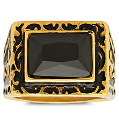 Mens Black Cubic Zirconia 18K Stainless Steel Band