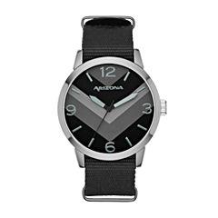 Arizona Mens Black Strap Watch-Fmdarz525