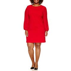 Donna Ricco Long Pleated Sleeve Sheath Dress-Plus
