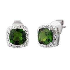 Cushion Green Chrome Diopside Sterling Silver Stud Earrings