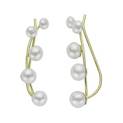 Cultured Freshwater Pearl and 14K Yellow Gold Crawler Earrings