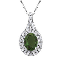Simulated Emerald and White Sapphire Sterling Silver Halo Pendant Necklace