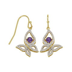 Love in Motion™ Genuine Amethyst and Lab-Created White Sapphire Butterfly Earrings