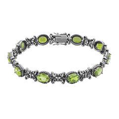 Genuine Peridot Oxidized Sterling Silver Tennis Bracelet
